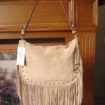 Nwt Michael Kors Dakota Hobo Khaki Quality Suede Shoulder Bag W/fringe 278 Photo