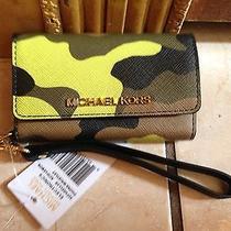 Nwt Michael Kors Electronics Iphone 5 Case Camouflage Acid Lemon Wristlet 88 Photo