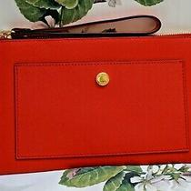 Nwt Michael Kors Greenwich Large Snap Pocket Zip Clutch Wristlet in Sienna Red Photo