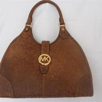 Nwt Michael Kors Hudson Mocha Distressed Ostrich Leather Tote Handbag Purse Photo