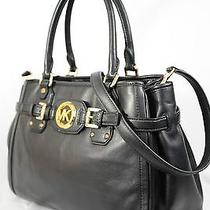 Nwt Michael Kors Hudson Soft Leather Large Satchel Tote Shoulder Bag Black Photo