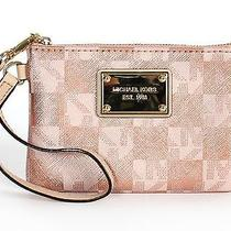 Nwt Michael Kors Jet Set Item Small Metallic Wristlet Rose Gold Photo