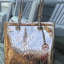 Nwt Michael Kors Jet Set Item Tote Bag Mk Signature Mirror Metallic Rose Gold Photo