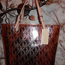 Nwt Michael Kors Jet Set Mk Signature Rose Gold Mirror Metallic Grab Bag Tote Photo
