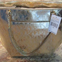 Nwt Michael Kors Jet Set Ns Chain Metallic Pale Gold Handbag Tote - Msrp 248 Photo