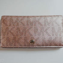 Nwt Michael Kors Jet Set Sig Metallic Large Slim Wallet/ Rosegold(gift Box Incl) Photo
