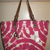 Nwt Michael Kors Lacquer Pink Grab Bag Canvas Handbag Ns Msrp 248.00.   Photo