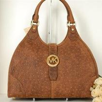 Nwt Michael Kors Large Hudson Mocha Ostrich Shoulder Bag Handbag Hot 428 Photo