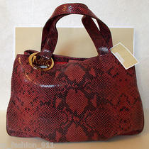 Nwt Michael Kors Lg Exotic Python Red Black Leather Shoulder Bag Hobo Purse Tote Photo