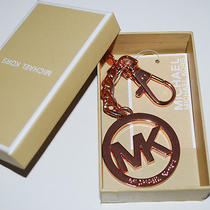 Nwt Michael Kors Metal Mk Signature Logo Key Charm Key Ring /chain/fob Rose Gold Photo