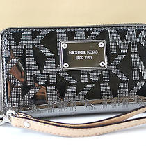 Nwt Michael Kors Mk Mirror Nickel (Grey) Metallic Wristlet Wallet Hold Iphone 5s Photo