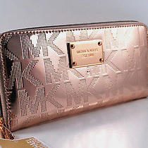 Nwt Michael Kors Mk Mirror Rose Gold Metallic Continental Zip-Around Wallet  Photo