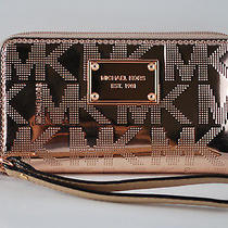 Nwt Michael Kors Mk Mirror Rose Gold Metallic Wristlet Wallet Holds Iphone 5s Photo