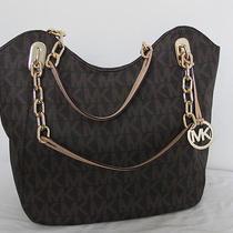 Nwt Michael Kors Mk Monogram Signature Logo Large Lilly Pvc Brown Tote Handbag  Photo