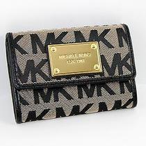 Nwt Michael Kors Mk Signature Jacquard Flap Coin Id Wallet Key Ring Beige/black Photo