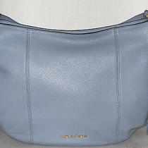 Nwt Michael Kors Pale Blue Pebbled Leather Large Brooke Hobo Shoulder Purse Bag  Photo