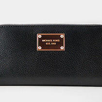 Nwt Michael Kors Rose Gold Tag Continental Zip-Around Leather Wallet Black Photo