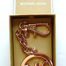 Nwt Michael Kors Rosegold Mk Signature Logo Key Ring/chain/fob/charm in Gift Box Photo