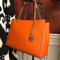 Nwt Michael Kors Saffiano Leather Susannah Large Tote Bag in Tangerine Photo