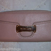 Nwt Michael Kors Saratoga Continental Zip Around Leather Wallet Blush 38h0xsge1l Photo