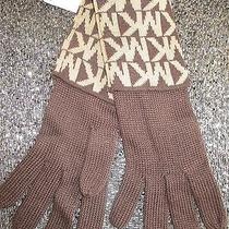 Nwt Michael Kors Signature S M L Osfa Gloves 42 Retail New Chocolate Brown Tan  Photo