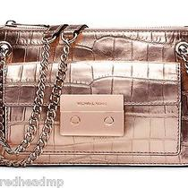 Nwt Michael Kors Sloan Croc Metallic Rose Gold Leather Flat Messenger Bag Photo