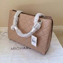 Nwt Michael Kors Susannah Large Tote Leather Blush Silver - 398 Photo
