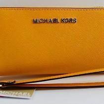 Nwt Michael Kors Vintage Yellow Jet Set Saffiano Lg Phone Case Wristlet Iphone 6 Photo