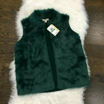 Nwt Michael Kors Women Large Faux Fur Open Front Sweater Vest Dark Emerald Green Photo