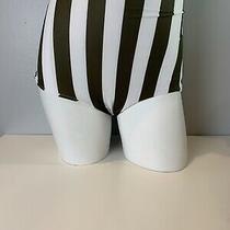 Nwt Mikoh Swimwear Womens Lami Retro Striped Bikini Bottom White/green Size M Photo