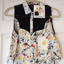 Nwt Mink Pink Crop Button Down Tank Blouse Floral Print With Sheer Black Top Xs Photo