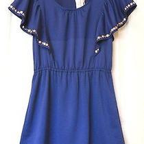 Nwt Minkpink Colbalt Blue Dress W Silver Studded Flutter Sleeves Sz Large Photo