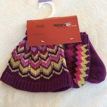 Nwt Missoni for Target Kids Girls Hat & Mittens Gloves Purple One Size Photo