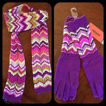 Nwt Missoni for Target Purple Pink Zig Zag Scarf and Gloves Set Photo
