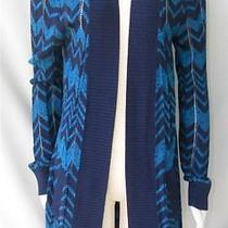 Nwt Missoni for Target Sweater Cardigan Blue Zig Zag Cotton Wool Knit Size S Photo