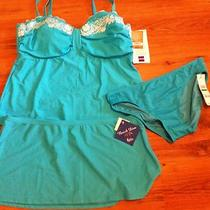 Nwt Mix & Match Tankini Set With Skirt Aqua Size 14  Photo