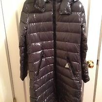 Nwt Moncler Down Coat Moka Lacquer Quilted Mid Length Size 3 Photo