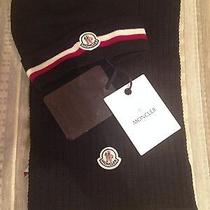 Nwt Moncler Men's Set of Hat and Scarf (Dark Blue) One Size Photo