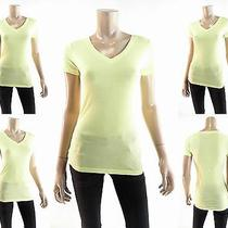 Nwt Mossimo Cute Womens Xs Cotton Shirt Top Pull Over v-Neck Solid Yellow Casual Photo
