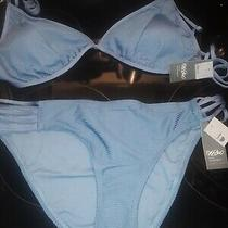 Nwt Mossimo Ribbed Triangle Bikini Top Size D/dd in Airy Blue With Xl Hipster B Photo