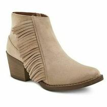 Nwt - Mossimo Womens Fringed Western Cowboy Ankle Boots Booties - Taupe - Us 6.5 Photo