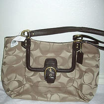 Nwt Msrp 378 Coach Campbell Belle Signature Khaki Mahogany F25294 Photo