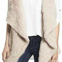 Nwt Msrp 520 Love Token Long Drape Genuine Rabbit Fur Vest With Pockets Blush L Photo
