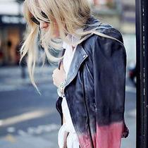 Nwt Muubaa Tehmi Dip Dyed Leather Skinny Biker Jacket Black Us 6 S Uk 10 Photo
