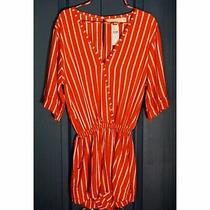 Nwt New 120 Anthropologie Jetsetter Red Striped Romper Size Xs Extra Small Photo