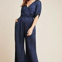 Nwt New Anthropologie Maeve Jacqueline Jacquard Jumpsuit Ink Navy Blue S Small 6 Photo