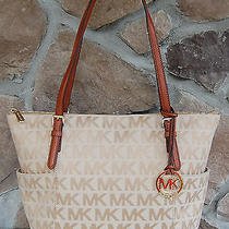 Nwt New Authentic Michael Kors Jet Set Logo Jacquard/leather Ew Top Zip Tote Photo