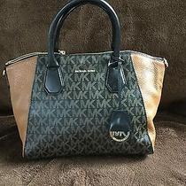 Nwt New Authentic Michael Kors Mk Signature Campbell Large Satchel Black/brown Photo