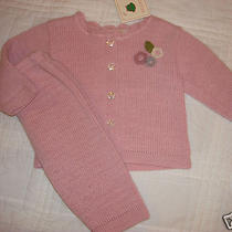 Nwt New Baby Bellini Italy Knit Outfit 9 6-9 Months Girl Pink Sweater Boutique  Photo