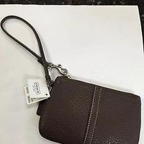 Nwt New Coach Pebbled Leather Wristlet Brown Photo